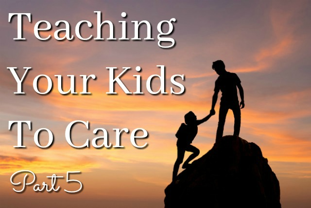Teaching kindness - one child helping another up a rock